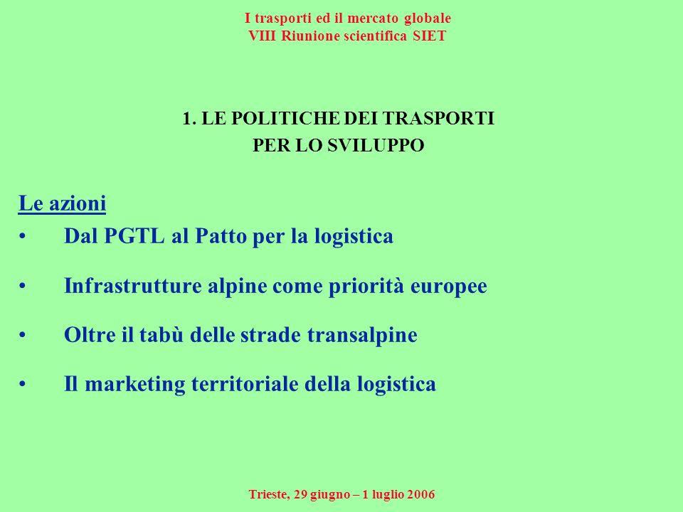 I trasporti ed il mercato globale VIII Riunione scientifica SIET Trieste, 29 giugno – 1 luglio 2006 1.