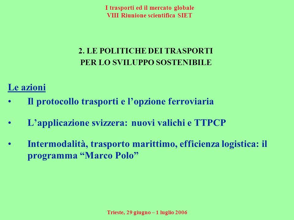 I trasporti ed il mercato globale VIII Riunione scientifica SIET Trieste, 29 giugno – 1 luglio 2006 2.