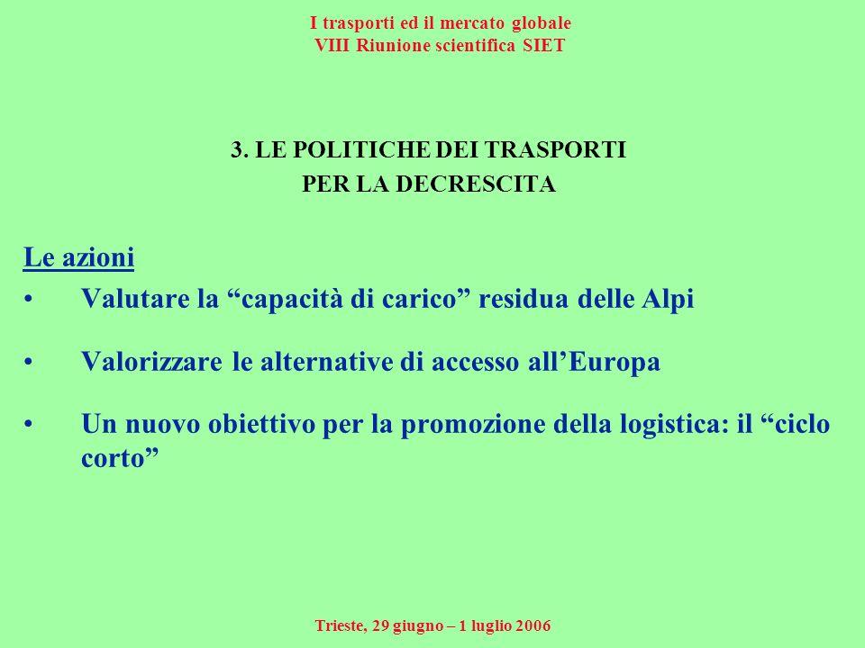 I trasporti ed il mercato globale VIII Riunione scientifica SIET Trieste, 29 giugno – 1 luglio 2006 3.