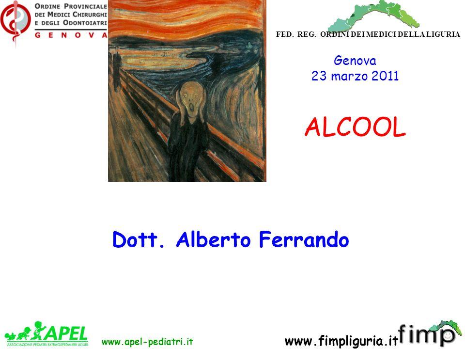 FED. REG. ORDINI DEI MEDICI DELLA LIGURIA www.apel-pediatri.it www.fimpliguria.it Dott. Alberto Ferrando Genova 23 marzo 2011 ALCOOL