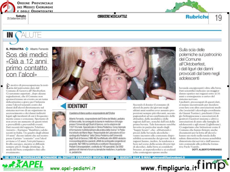 FED. REG. ORDINI DEI MEDICI DELLA LIGURIA www.apel-pediatri.it www.fimpliguria.it