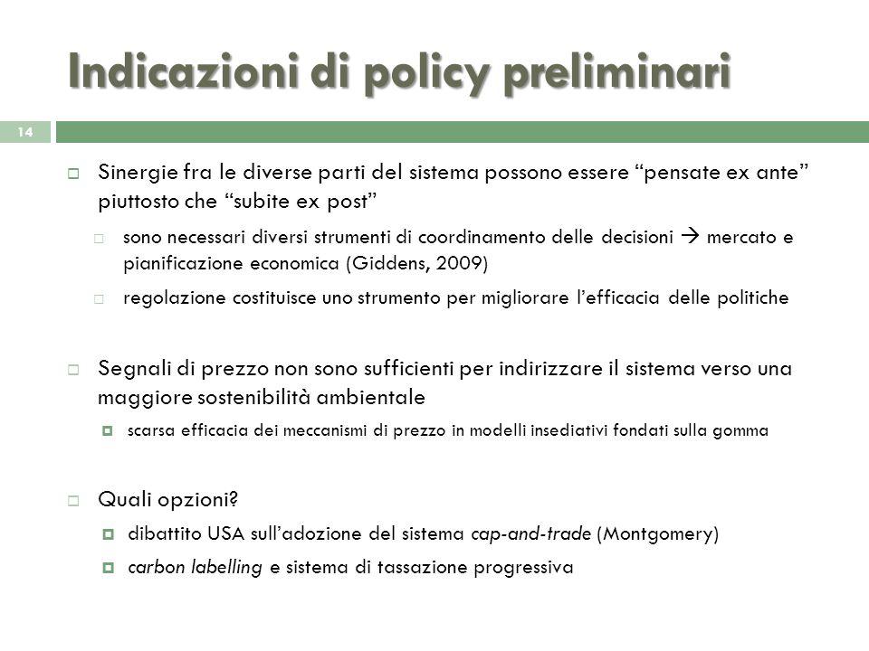 Indicazioni di policy preliminari 14 Sinergie fra le diverse parti del sistema possono essere pensate ex ante piuttosto che subite ex post sono necess