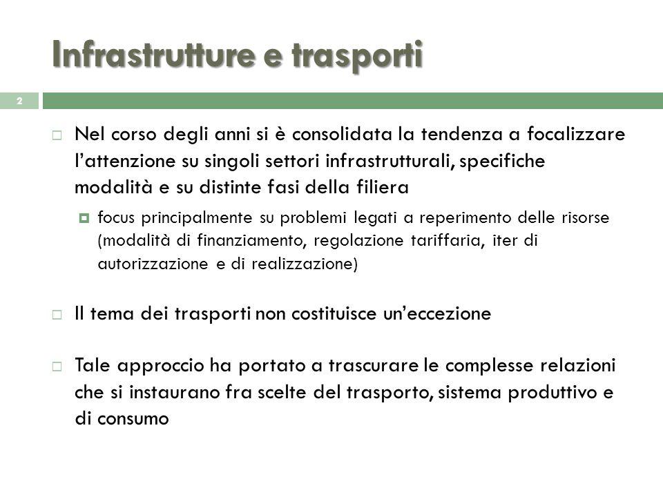 Infrastrutture e trasporti Nel corso degli anni si è consolidata la tendenza a focalizzare lattenzione su singoli settori infrastrutturali, specifiche