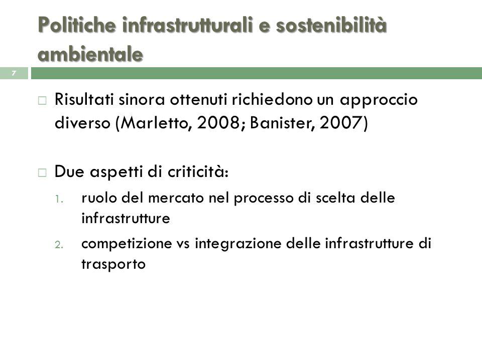 Ruolo delle infrastrutture e scelte infrastrutturali 8 Natura strumentale delle infrastrutture Scelte infrastrutturali debbono essere prese con lidea di sfruttare il loro potenziale di superadditività in rapporto agli obiettivi di un territorio (Pozzi, 2008) Affinché tutte le opportunità che linfrastruttura è in grado di generare siano colte, assumono rilievo tutte le componenti del sistema: sistema produttivo e di consumo scelte insediative sostenibilità ambientale