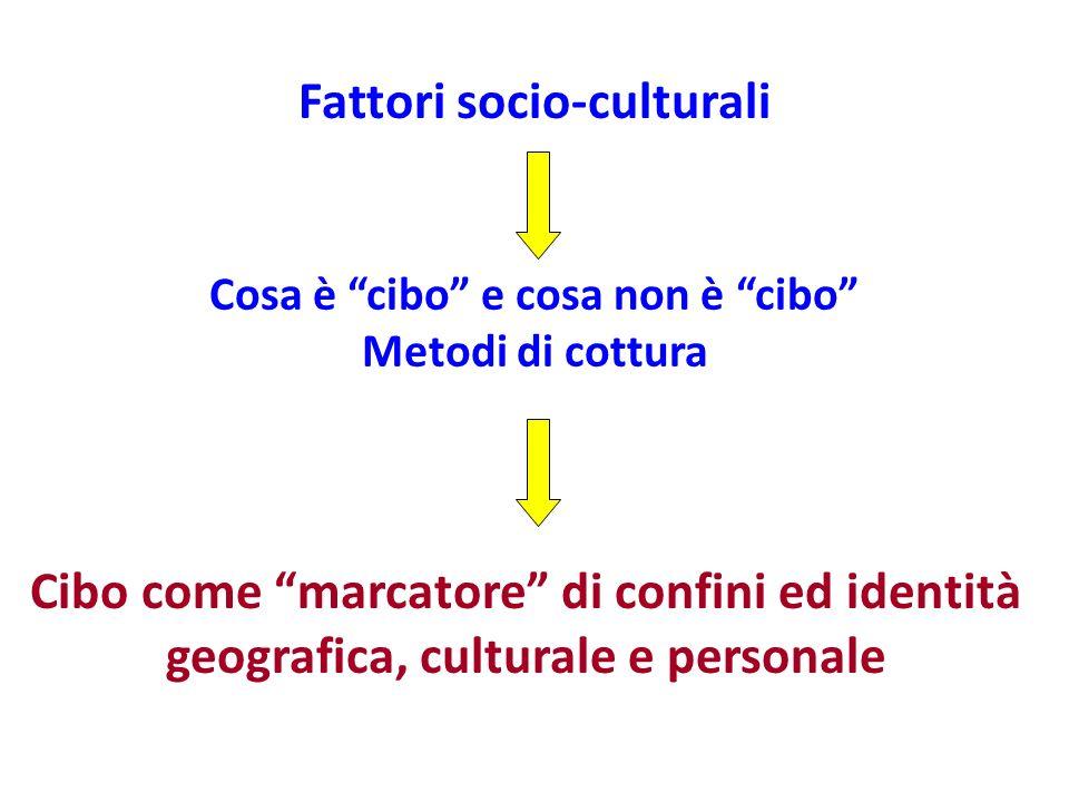 Cibo come marcatore di confini ed identità geografica, culturale e personale Fattori socio-culturali Cosa è cibo e cosa non è cibo Metodi di cottura
