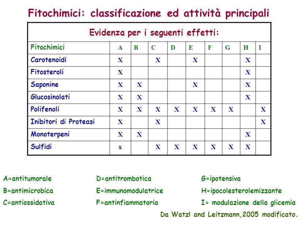 Fitochimici: classificazione ed attività principali Evidenza per i seguenti effetti: Fitochimici ABCDEFGHI Carotenoidi XXXX Fitosteroli XX Saponine XXXX Glucosinolati XXX Polifenoli XXXXXXXX Inibitori di Proteasi XXX Monoterpeni XXX Sulfidi xXXXXXX A=antitumorale D=antitrombotica G=ipotensiva B=antimicrobica E=immunomodulatrice H=ipocolesterolemizzante C=antiossidativa F=antinfiammatoria I= modulazione della glicemia Da Watzl and Leitzmann,2005 modificato.