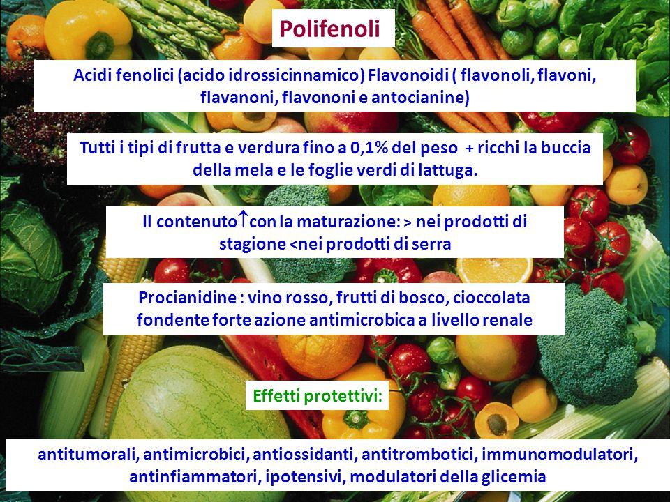 Tutti i tipi di frutta e verdura fino a 0,1% del peso + ricchi la buccia della mela e le foglie verdi di lattuga. antitumorali, antimicrobici, antioss