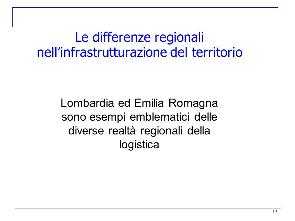 13 Le differenze regionali nellinfrastrutturazione del territorio Lombardia ed Emilia Romagna sono esempi emblematici delle diverse realtà regionali d