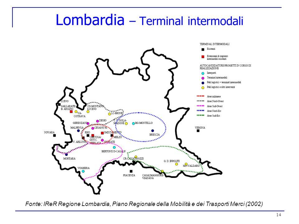 14 Lombardia – Terminal intermodali Fonte: IReR Regione Lombardia, Piano Regionale della Mobilità e dei Trasporti Merci (2002)
