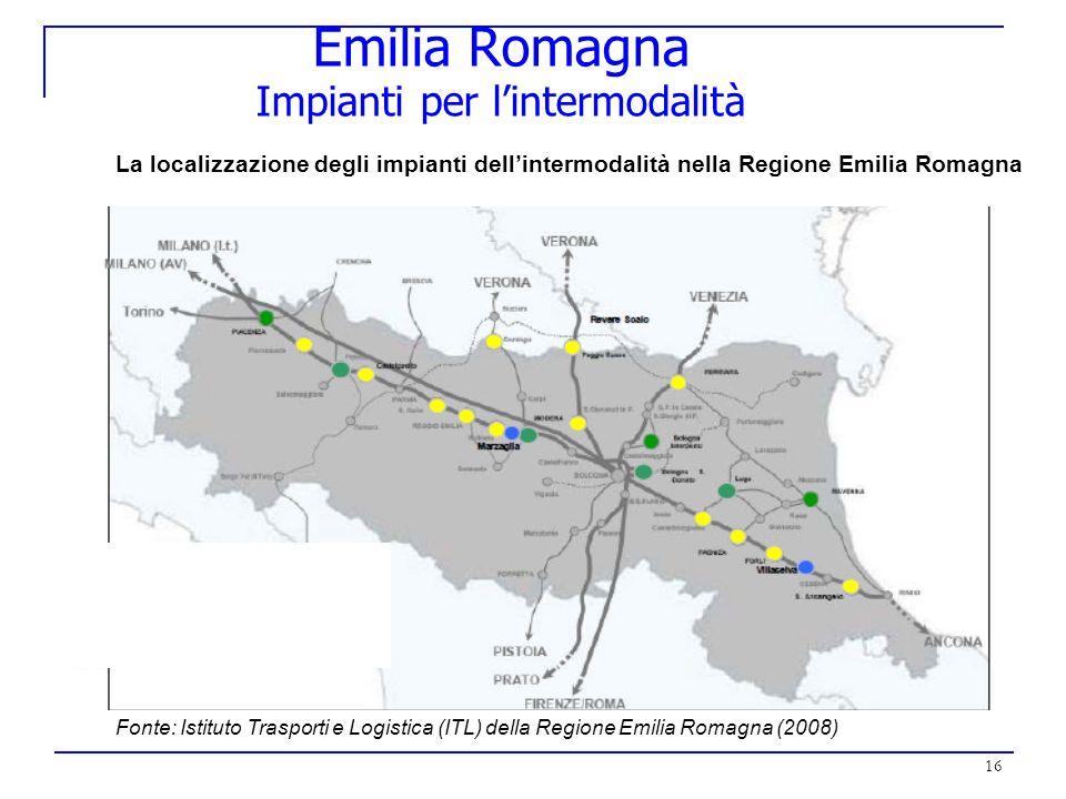 16 Emilia Romagna Impianti per lintermodalità La localizzazione degli impianti dellintermodalità nella Regione Emilia Romagna Fonte: Istituto Trasport