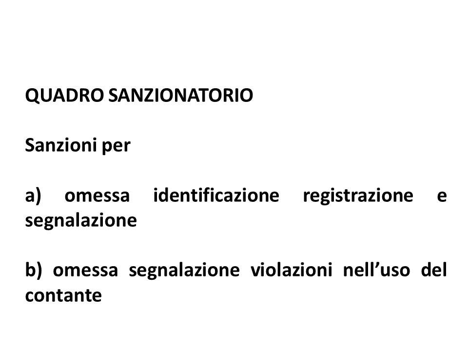 QUADRO SANZIONATORIO Sanzioni per a) omessa identificazione registrazione e segnalazione b) omessa segnalazione violazioni nelluso del contante
