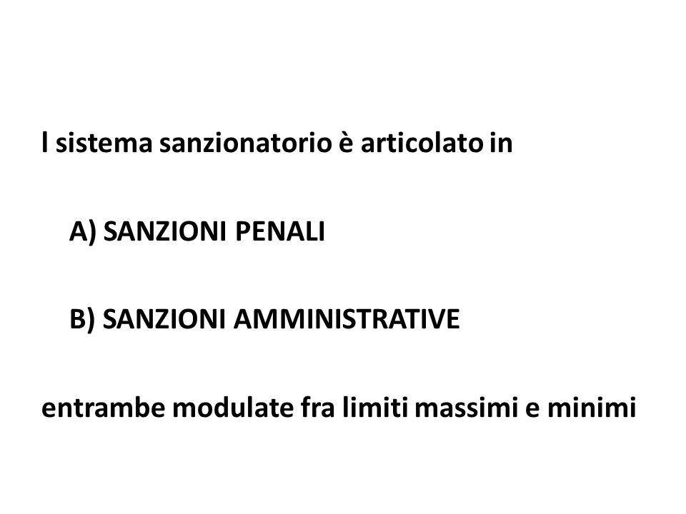 l sistema sanzionatorio è articolato in A) SANZIONI PENALI B) SANZIONI AMMINISTRATIVE entrambe modulate fra limiti massimi e minimi