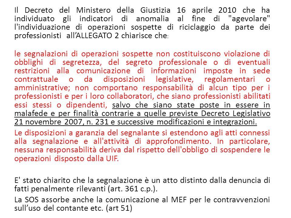 Il Decreto del Ministero della Giustizia 16 aprile 2010 che ha individuato gli indicatori di anomalia al fine di