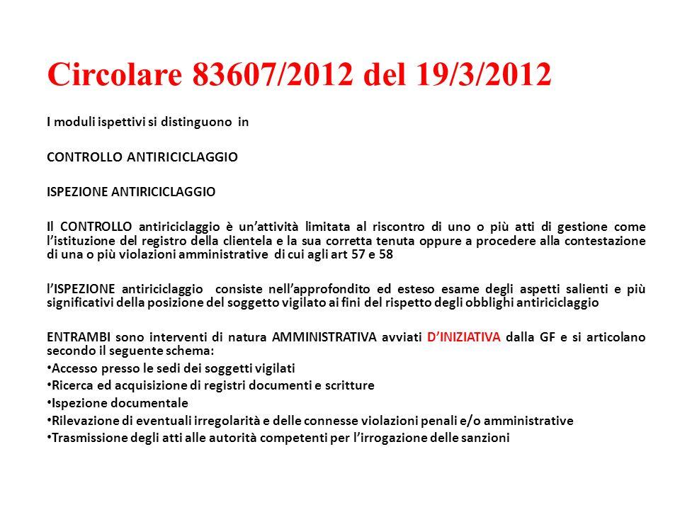 Circolare 83607/2012 del 19/3/2012 I moduli ispettivi si distinguono in CONTROLLO ANTIRICICLAGGIO ISPEZIONE ANTIRICICLAGGIO Il CONTROLLO antiriciclagg