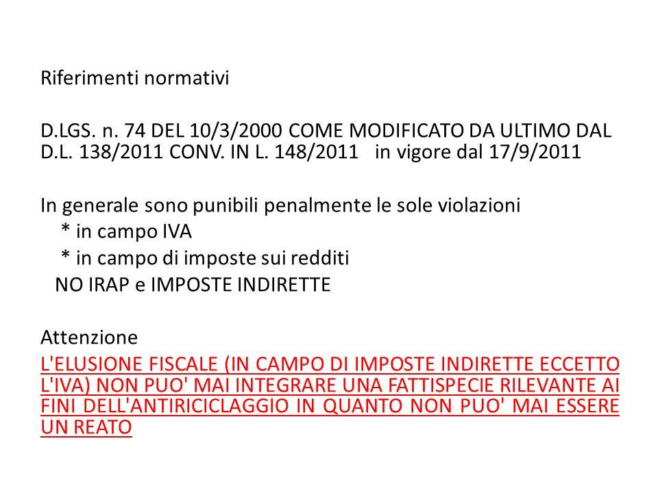 Riferimenti normativi D.LGS. n. 74 DEL 10/3/2000 COME MODIFICATO DA ULTIMO DAL D.L. 138/2011 CONV. IN L. 148/2011 in vigore dal 17/9/2011 In generale
