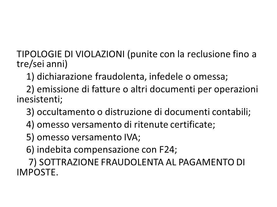 TIPOLOGIE DI VIOLAZIONI (punite con la reclusione fino a tre/sei anni) 1) dichiarazione fraudolenta, infedele o omessa; 2) emissione di fatture o altr