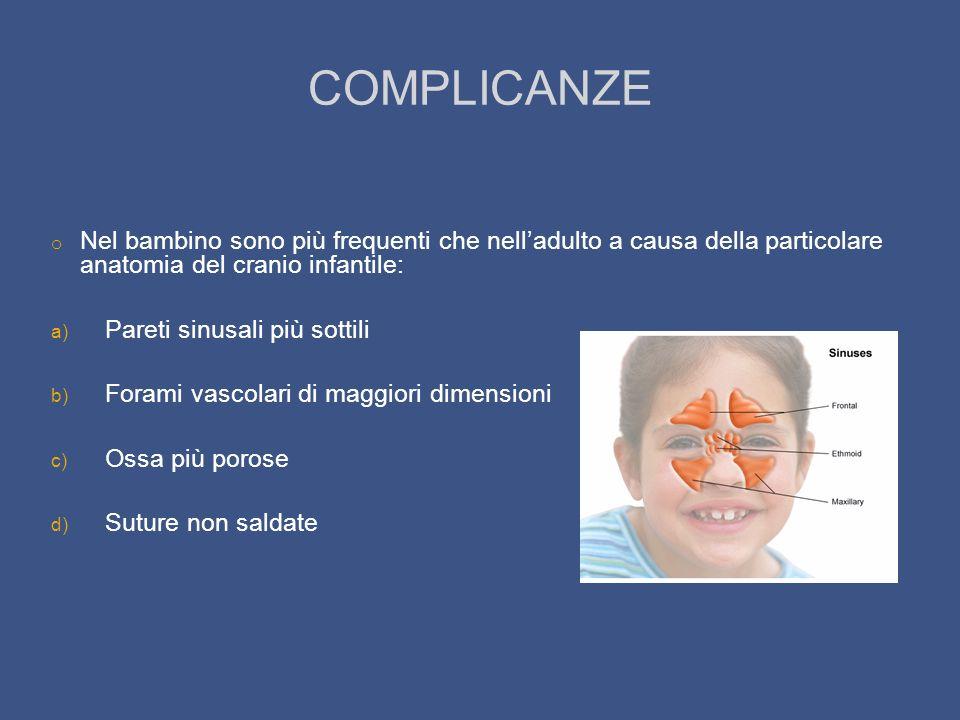 COMPLICANZE o Nel bambino sono più frequenti che nelladulto a causa della particolare anatomia del cranio infantile: a) Pareti sinusali più sottili b)