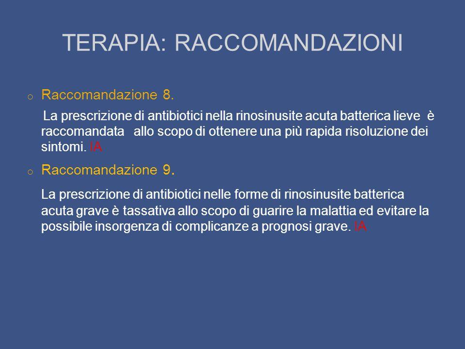 TERAPIA: RACCOMANDAZIONI o Raccomandazione 8. La prescrizione di antibiotici nella rinosinusite acuta batterica lieve è raccomandata allo scopo di ott