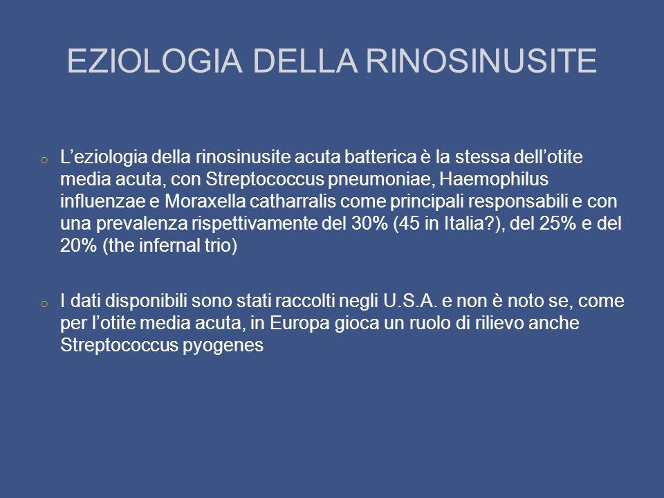 EZIOLOGIA DELLA RINOSINUSITE o Leziologia della rinosinusite acuta batterica è la stessa dellotite media acuta, con Streptococcus pneumoniae, Haemophi