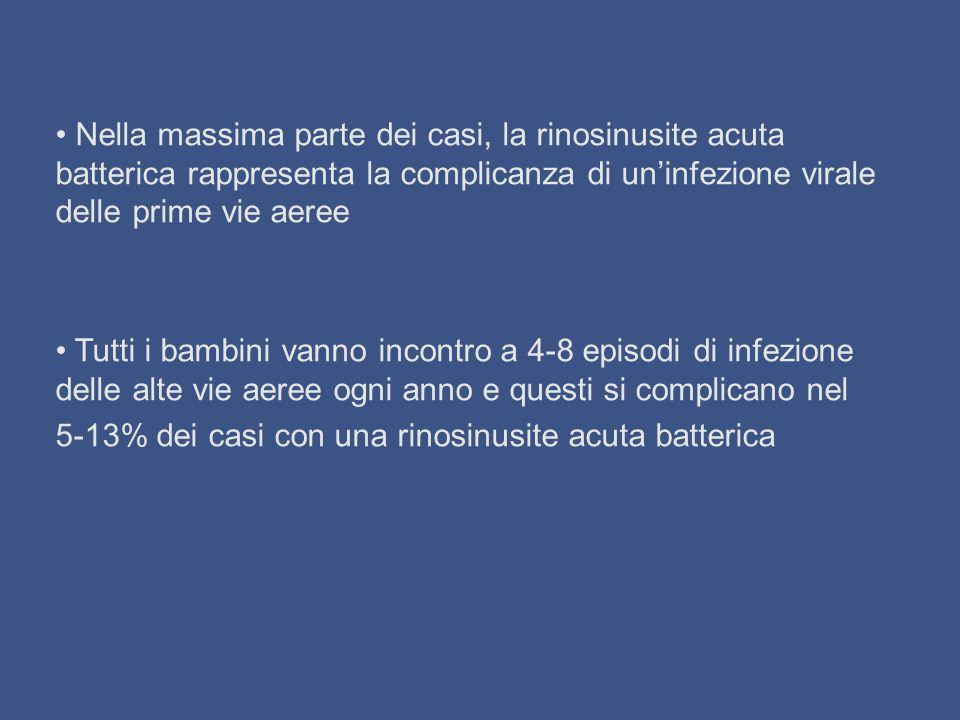 EZIOLOGIA DELLA RINOSINUSITE o Leziologia della rinosinusite acuta batterica è la stessa dellotite media acuta, con Streptococcus pneumoniae, Haemophilus influenzae e Moraxella catharralis come principali responsabili e con una prevalenza rispettivamente del 30% (45 in Italia?), del 25% e del 20% (the infernal trio) o I dati disponibili sono stati raccolti negli U.S.A.