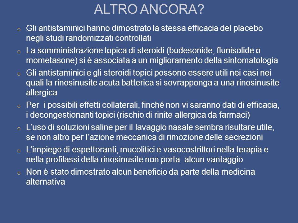 ALTRO ANCORA? o Gli antistaminici hanno dimostrato la stessa efficacia del placebo negli studi randomizzati controllati o La somministrazione topica d
