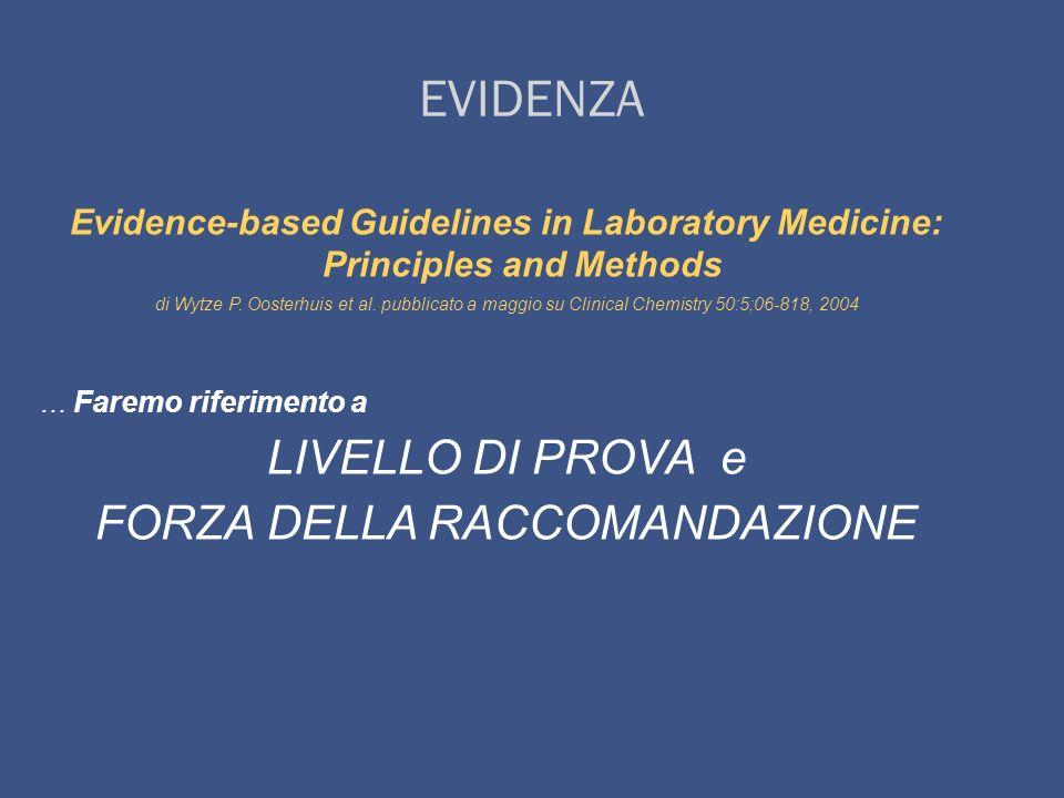 LIVELLO DI PROVA Il livello di prova si riferisce al tipo di studio dal quale è derivata linformazione utilizzata e conseguentemente alla validità dellinformazione possibilmente priva di errori sistematici e metodologici.