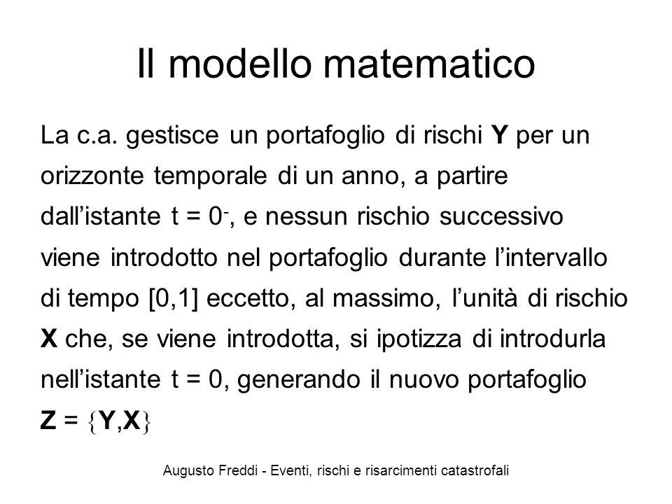 Augusto Freddi - Eventi, rischi e risarcimenti catastrofali Il modello matematico La c.a. gestisce un portafoglio di rischi Y per un orizzonte tempora