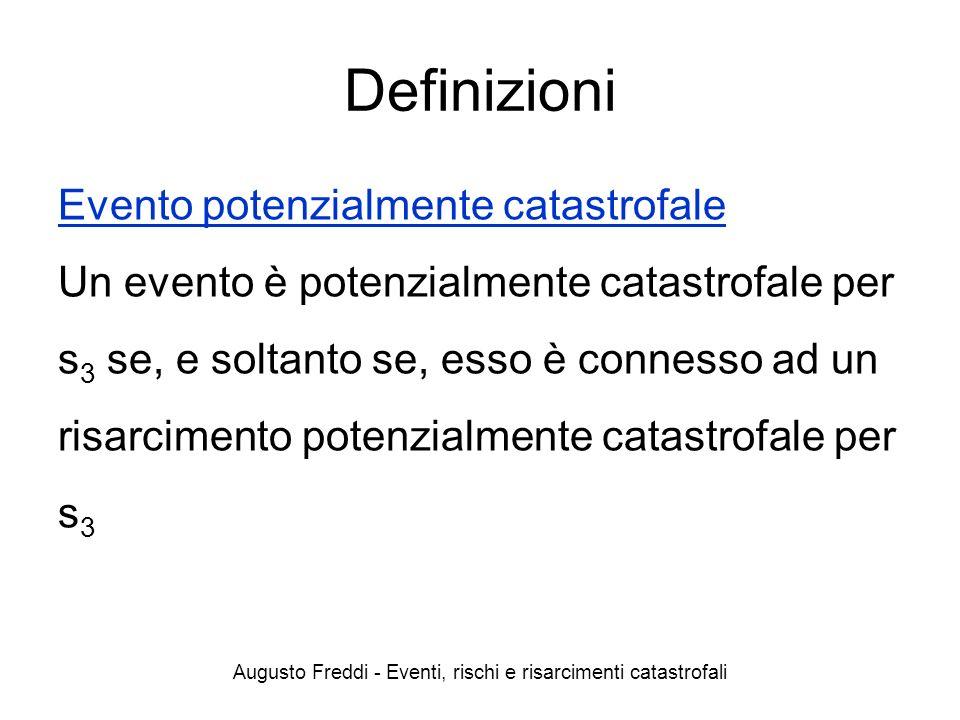 Augusto Freddi - Eventi, rischi e risarcimenti catastrofali Definizioni Evento potenzialmente catastrofale Un evento è potenzialmente catastrofale per
