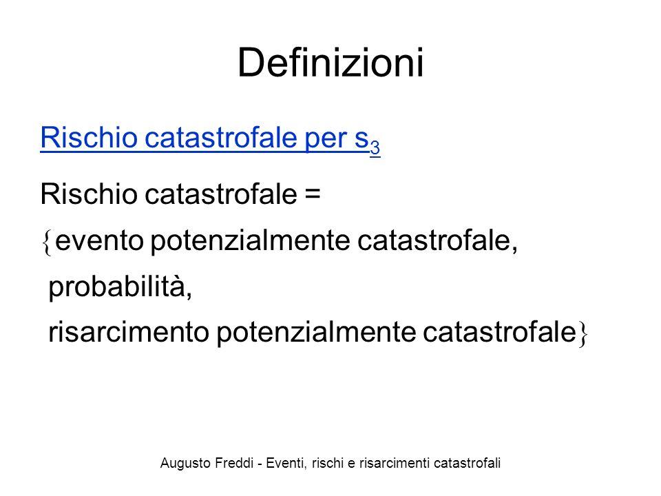 Augusto Freddi - Eventi, rischi e risarcimenti catastrofali Definizioni Rischio catastrofale per s 3 Rischio catastrofale = evento potenzialmente cata