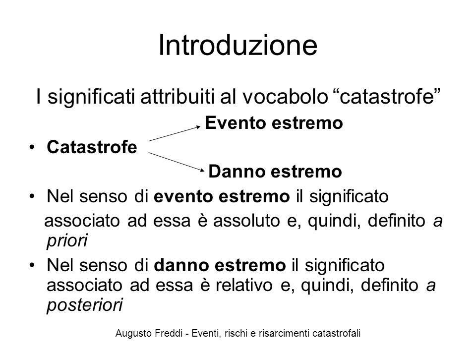 Augusto Freddi - Eventi, rischi e risarcimenti catastrofali Introduzione I significati attribuiti al vocabolo catastrofe Evento estremo Catastrofe Dan