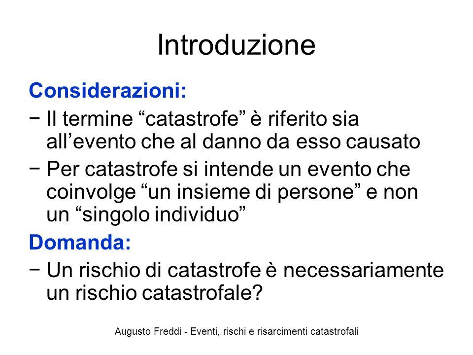 Augusto Freddi - Eventi, rischi e risarcimenti catastrofali Introduzione Considerazioni: Il termine catastrofe è riferito sia allevento che al danno d