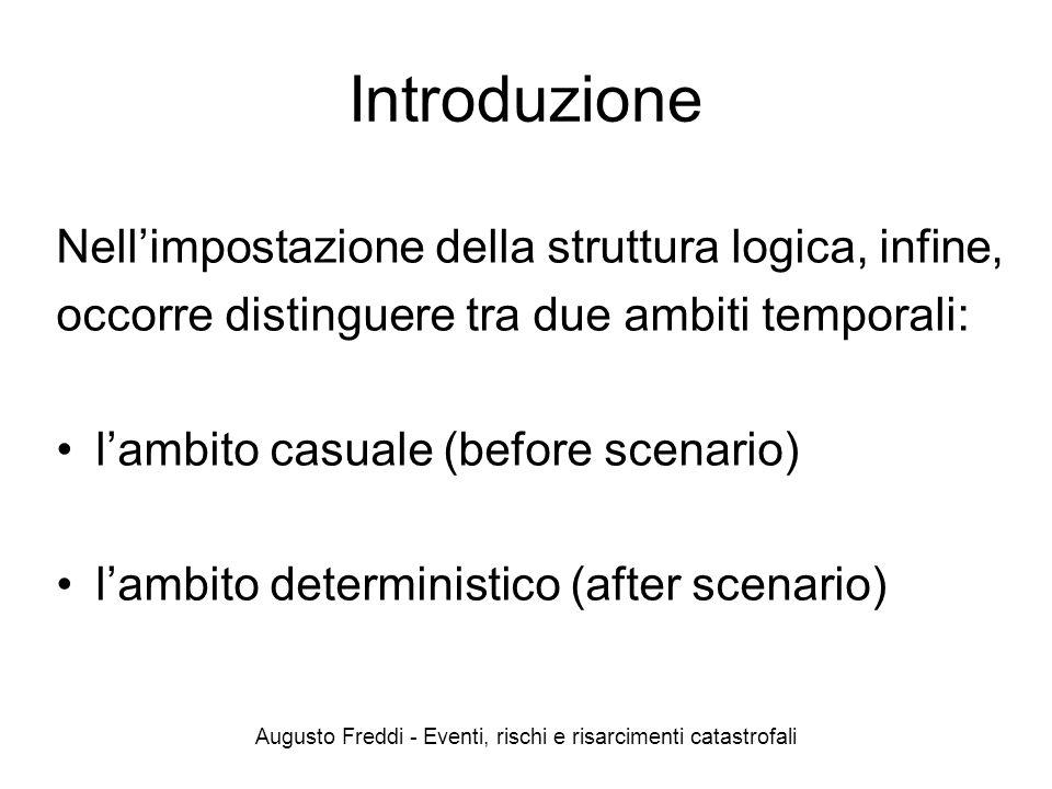 Augusto Freddi - Eventi, rischi e risarcimenti catastrofali Introduzione Nellimpostazione della struttura logica, infine, occorre distinguere tra due