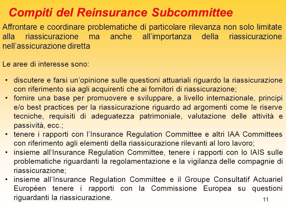11 Affrontare e coordinare problematiche di particolare rilevanza non solo limitate alla riassicurazione ma anche allimportanza della riassicurazione