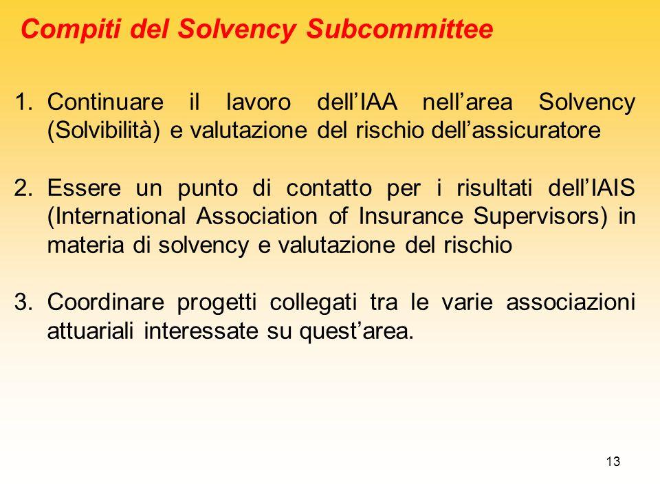 13 Compiti del Solvency Subcommittee 1.Continuare il lavoro dellIAA nellarea Solvency (Solvibilità) e valutazione del rischio dellassicuratore 2.Esser