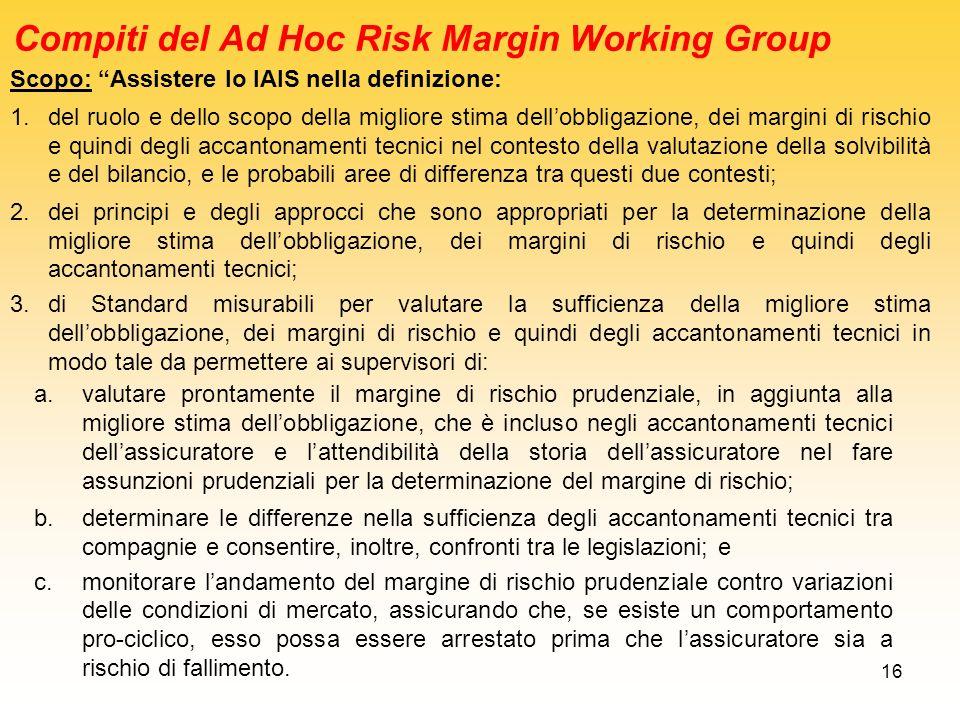 16 Compiti del Ad Hoc Risk Margin Working Group Scopo: Assistere lo IAIS nella definizione: 1.del ruolo e dello scopo della migliore stima dellobbliga