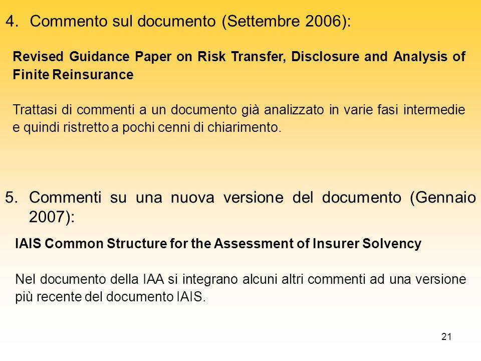 21 4.Commento sul documento (Settembre 2006): Revised Guidance Paper on Risk Transfer, Disclosure and Analysis of Finite Reinsurance Trattasi di comme