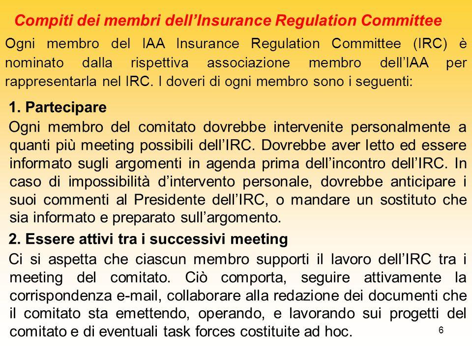 17 Alcuni recenti pareri dati dallInsurance Regulation Committee che sono diventati pareri della IAA, anche in collegamento con altri Comitati