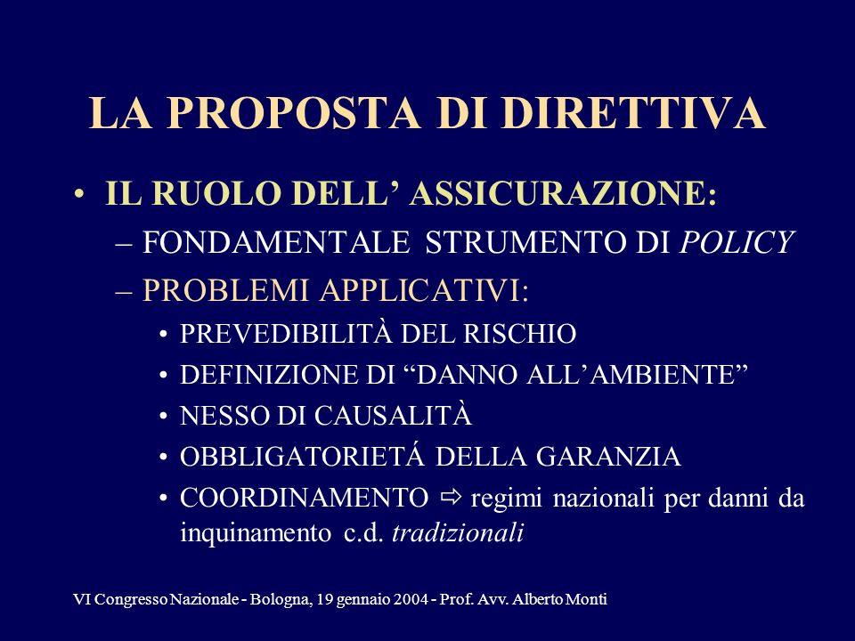 VI Congresso Nazionale - Bologna, 19 gennaio 2004 - Prof. Avv. Alberto Monti LA PROPOSTA DI DIRETTIVA IL RUOLO DELL ASSICURAZIONE : –FONDAMENTALE STRU