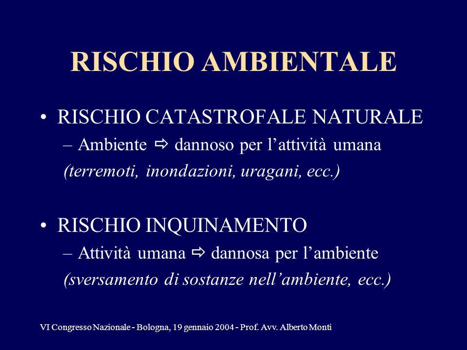 VI Congresso Nazionale - Bologna, 19 gennaio 2004 - Prof. Avv. Alberto Monti RISCHIO AMBIENTALE RISCHIO CATASTROFALE NATURALE –Ambiente dannoso per la