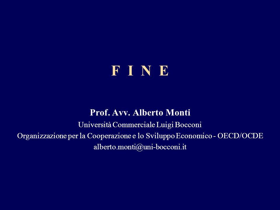 F I N E Prof. Avv. Alberto Monti Università Commerciale Luigi Bocconi Organizzazione per la Cooperazione e lo Sviluppo Economico - OECD/OCDE alberto.m