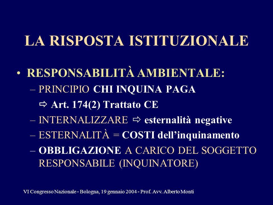 VI Congresso Nazionale - Bologna, 19 gennaio 2004 - Prof. Avv. Alberto Monti LA RISPOSTA ISTITUZIONALE RESPONSABILITÀ AMBIENTALE: –PRINCIPIO CHI INQUI