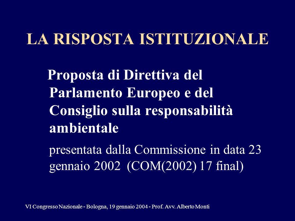 VI Congresso Nazionale - Bologna, 19 gennaio 2004 - Prof. Avv. Alberto Monti LA RISPOSTA ISTITUZIONALE Proposta di Direttiva del Parlamento Europeo e
