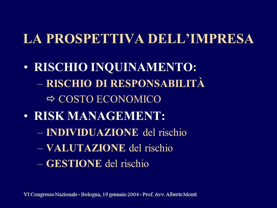 VI Congresso Nazionale - Bologna, 19 gennaio 2004 - Prof. Avv. Alberto Monti LA PROSPETTIVA DELLIMPRESA RISCHIO INQUINAMENTO: –RISCHIO DI RESPONSABILI