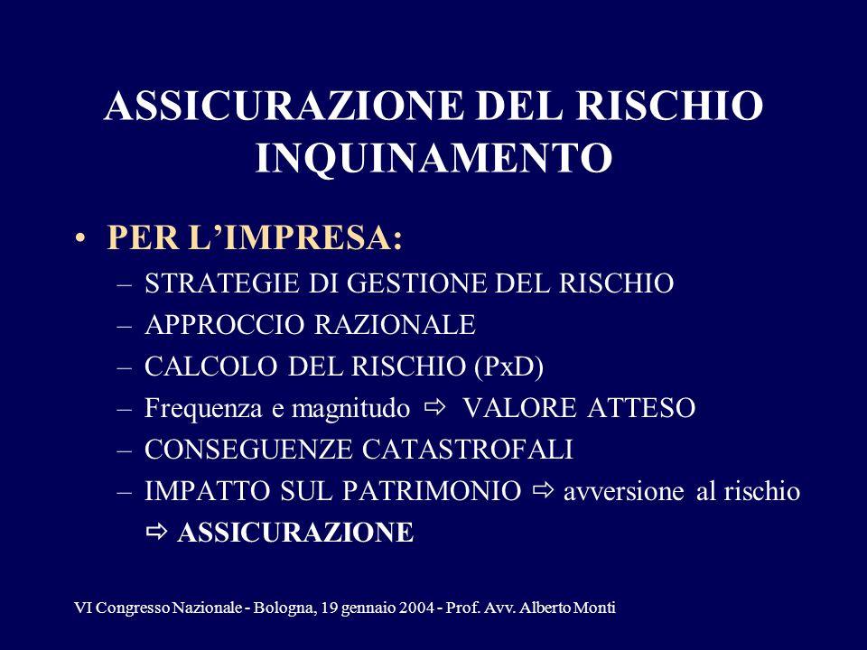 VI Congresso Nazionale - Bologna, 19 gennaio 2004 - Prof. Avv. Alberto Monti ASSICURAZIONE DEL RISCHIO INQUINAMENTO PER LIMPRESA: –STRATEGIE DI GESTIO