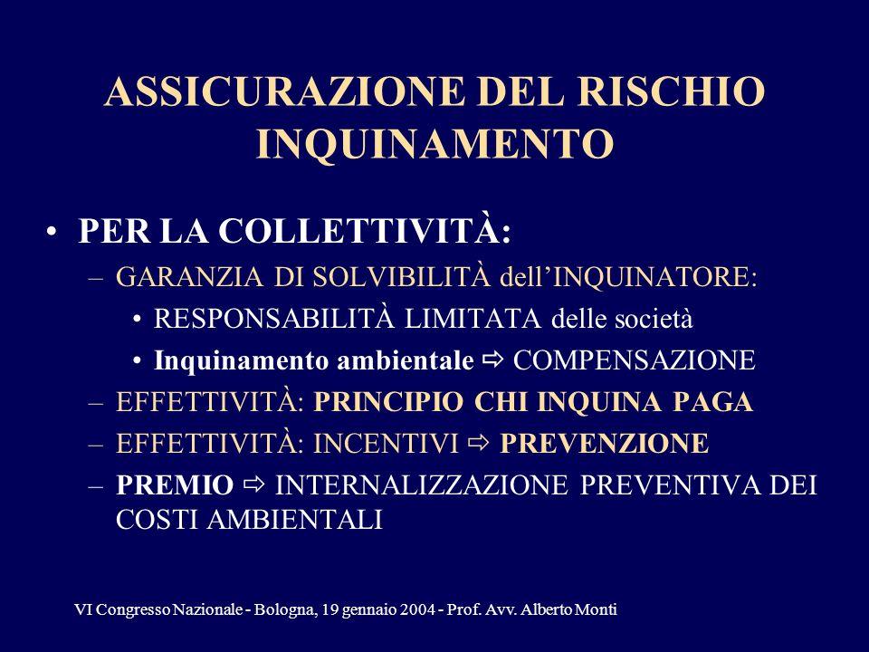 VI Congresso Nazionale - Bologna, 19 gennaio 2004 - Prof. Avv. Alberto Monti ASSICURAZIONE DEL RISCHIO INQUINAMENTO PER LA COLLETTIVITÀ: –GARANZIA DI