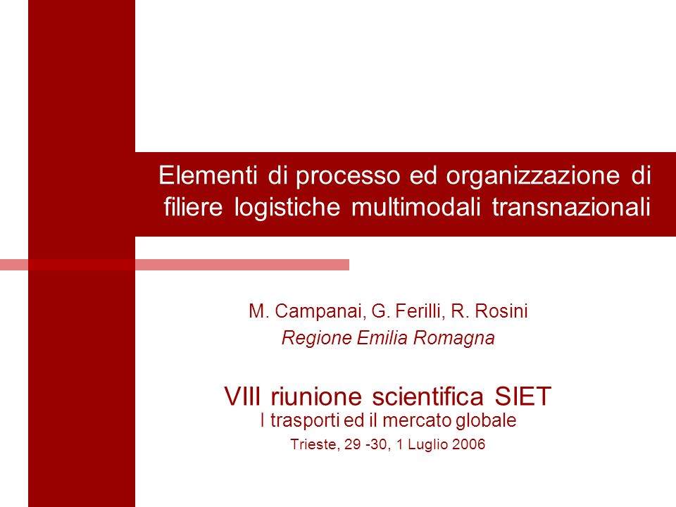 1 Elementi di processo ed organizzazione di filiere logistiche multimodali transnazionali M. Campanai, G. Ferilli, R. Rosini Regione Emilia Romagna VI