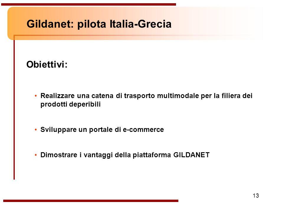 13 Gildanet: pilota Italia-Grecia Obiettivi: Realizzare una catena di trasporto multimodale per la filiera dei prodotti deperibili Sviluppare un porta