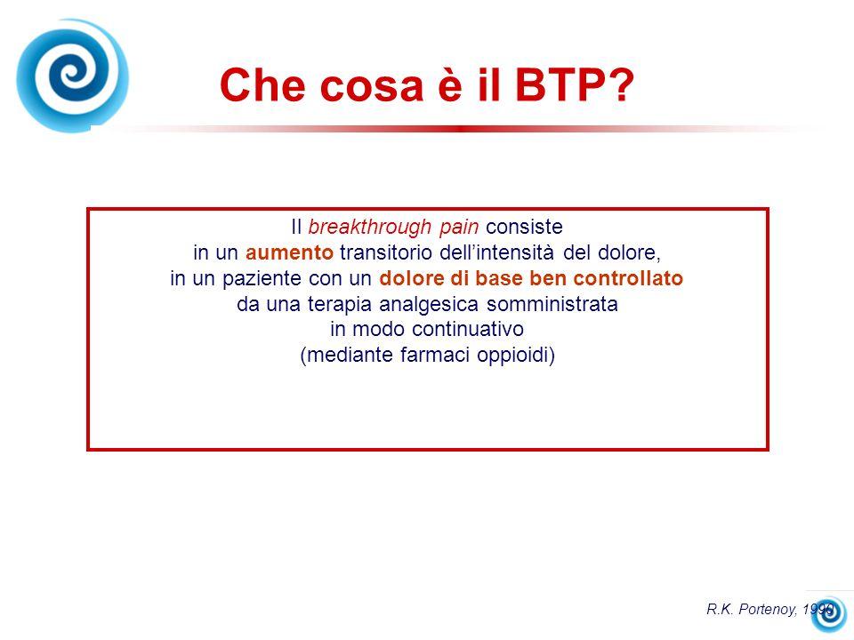 Che cosa è il BTP? Il breakthrough pain consiste in un aumento transitorio dellintensità del dolore, in un paziente con un dolore di base ben controll