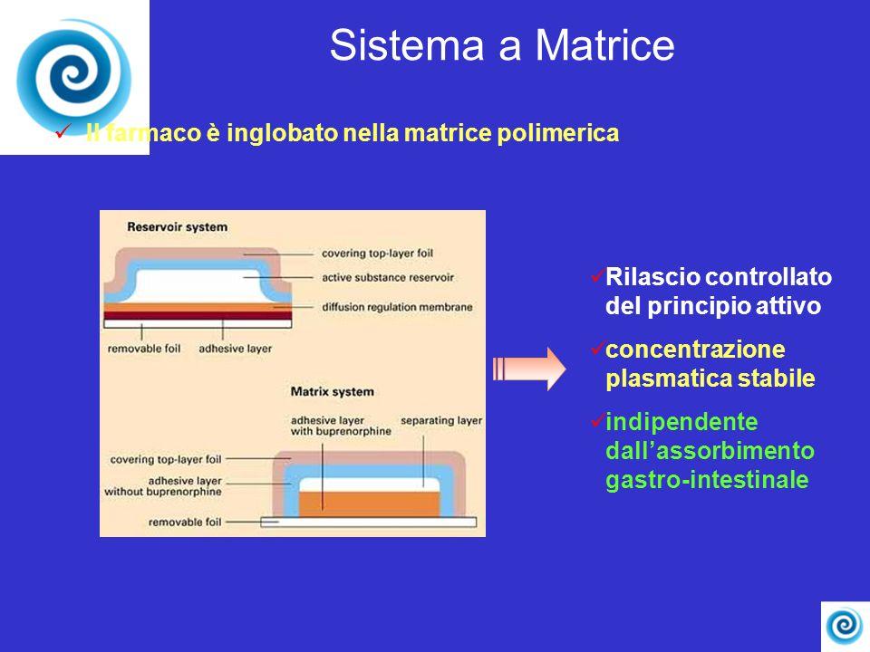 Rilascio controllato del principio attivo concentrazione plasmatica stabile indipendente dallassorbimento gastro-intestinale Sistema a Matrice Il farm