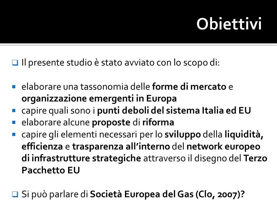 Tappe della liberalizzazione dei mercati del Gas in UK (Artur D Little, 2004): 1986: Privatizzazione British Gas 1996-97: BG demerger 1996: Lancio on-system market (NBP) 1997: Lancio natural gas future market (IPE) Tappe della liberalizzazione dei mercati dellEuropa e in Italia: 1998: Direttiva 98/30/EC (Apertura e TPA) 2000/2001: Recepimento direttiva in Italia, Spagna, Belgio, Olanda 2000: Decreto Letta 2005-2008: Nascono i primi mercati Spot e Future in Europa Nord Continentale 2009: Nasce la Borsa del Gas in Italia???